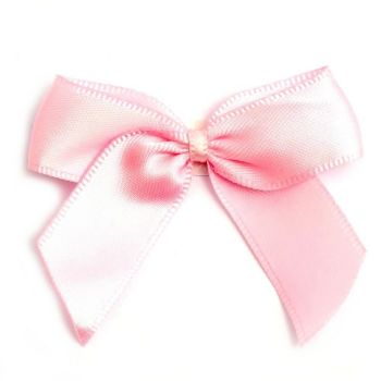 Satin Fabric 15mm Ribbon Bows - Light Pink