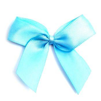 Satin Fabric 15mm Ribbon Bows - Light Blue