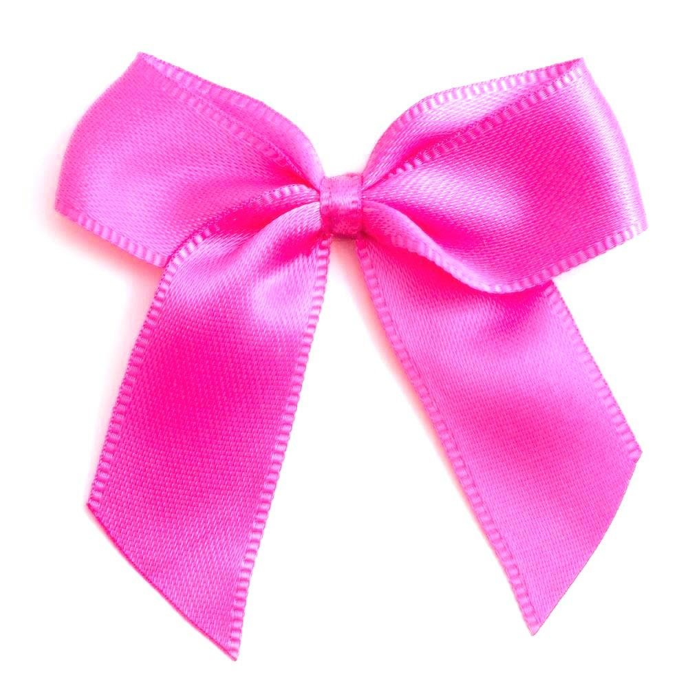 Satin Fabric 15mm Ribbon Bows - Cerise Pink