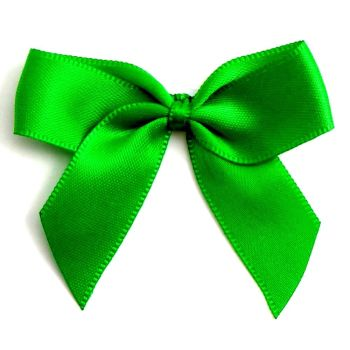 Satin Fabric 15mm Ribbon Bows - Emerald Green