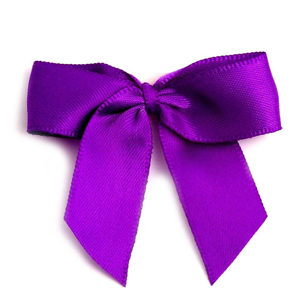 Satin Fabric 15mm Ribbon Bows - Purple
