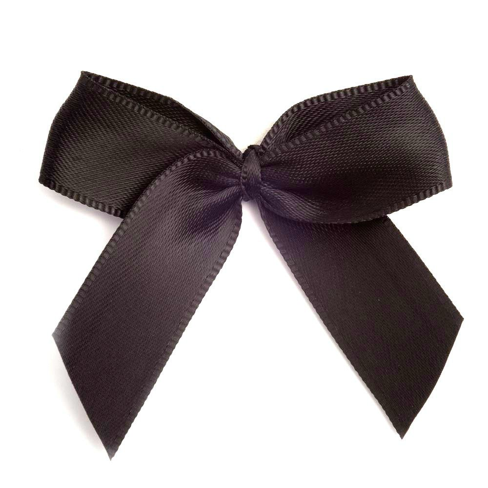 Satin Fabric 15mm Ribbon Bows - Black