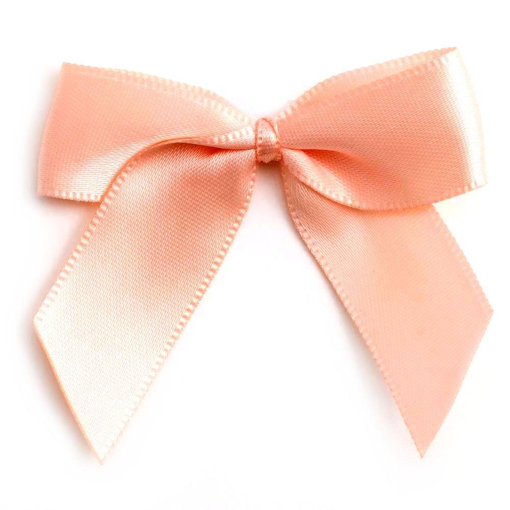 Satin Fabric 15mm Ribbon Bows - Peach