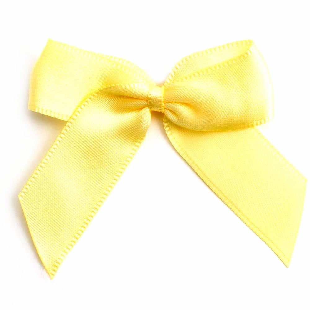 Satin Fabric 15mm Ribbon Bows - Lemon