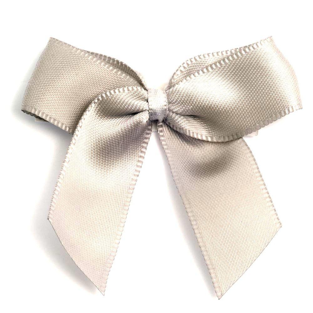 Satin Fabric 15mm Ribbon Bows - Light Grey