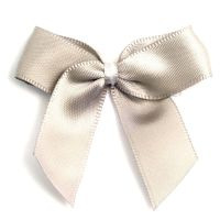 Satin Fabric 15mm Ribbon Bows - Light Grey