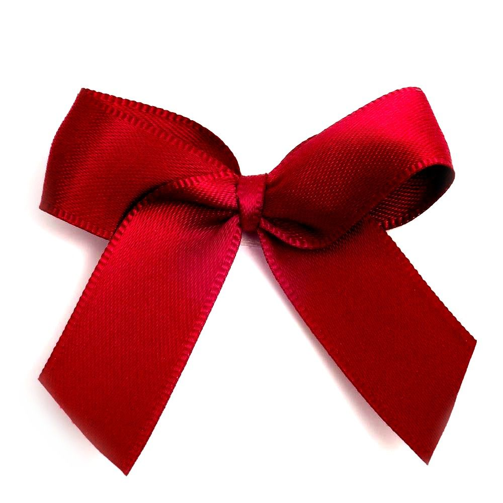 Satin Fabric 15mm Ribbon Bows - Burgundy