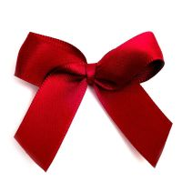 Satin Fabric 15mm Ribbon Bows - Burgundy