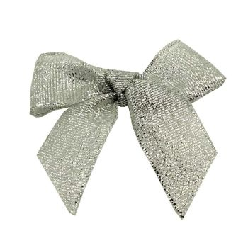 Lurex Fabric 15mm Ribbon Bows - Silver