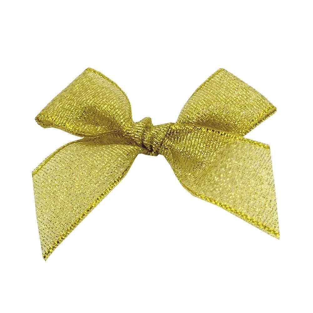 Satin Fabric 15mm Ribbon Bows - Gold Lurex