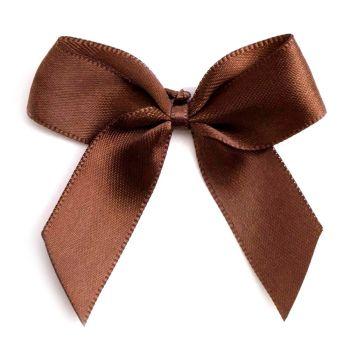 Satin Fabric 15mm Ribbon Bows - Brown