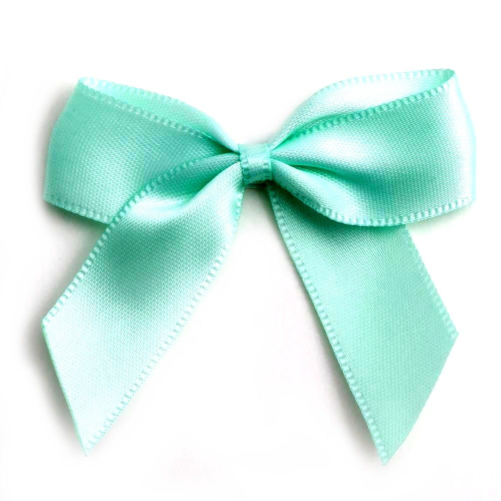 Satin Fabric 15mm Ribbon Bows - Mint Green