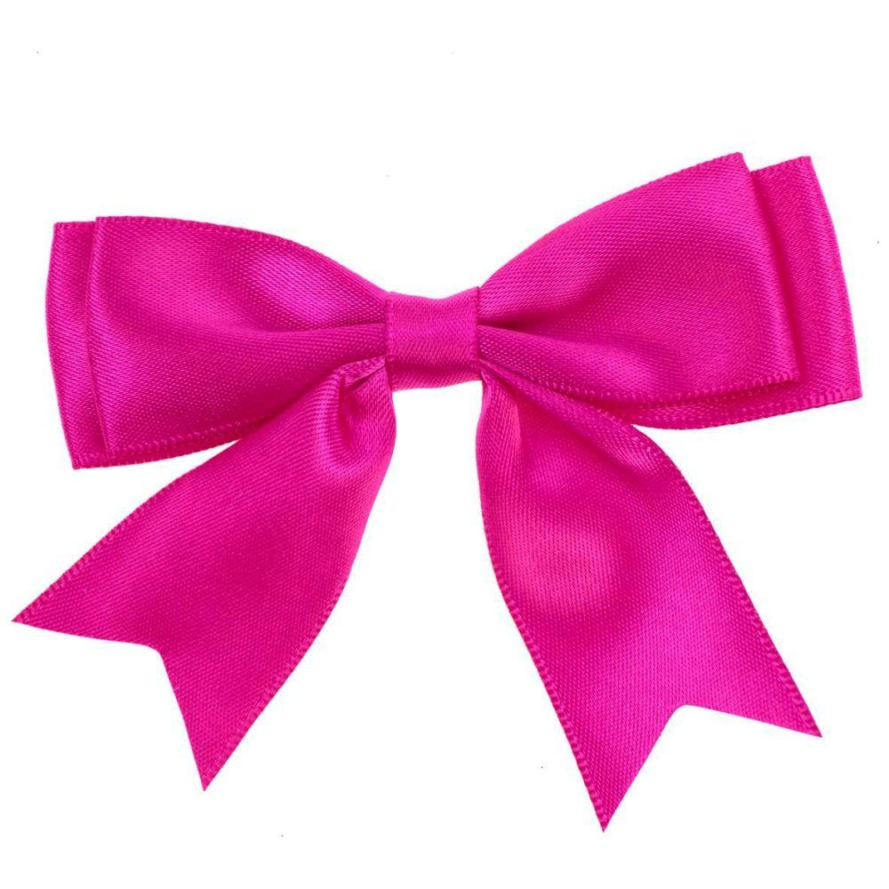 Satin Fabric 25mm Ribbon Bows - Cerise Pink