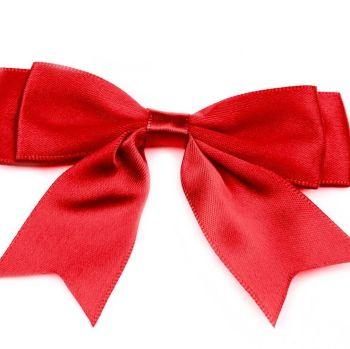 Satin Fabric 25mm Ribbon Bows - Red