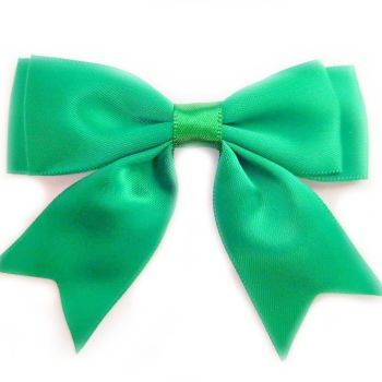 Satin Fabric 25mm Ribbon Bows - Emerald Green