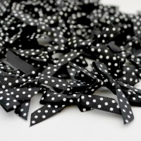 7mm Satin Spotty Polka Dot Bows - Black