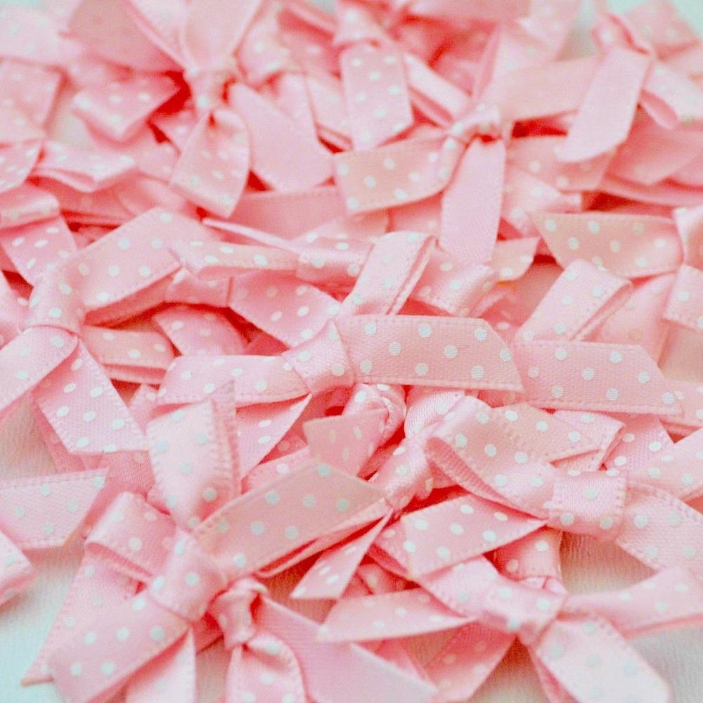 7mm Satin Spotty Bows - Light Pink
