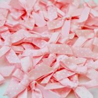 7mm Satin Spotty Polka Dot Bows - Light Pink