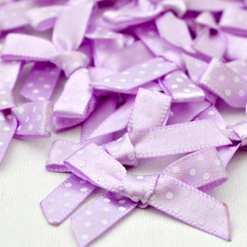 7mm Satin Spotty Bows - Lilac
