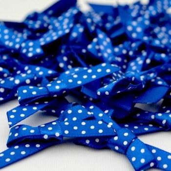 7mm Satin Spotty Polka Dot Bows - Royal Blue