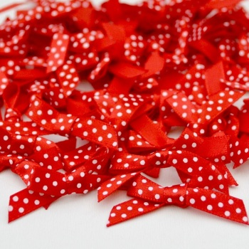 7mm Satin Spotty Polka Dot Bows - Red