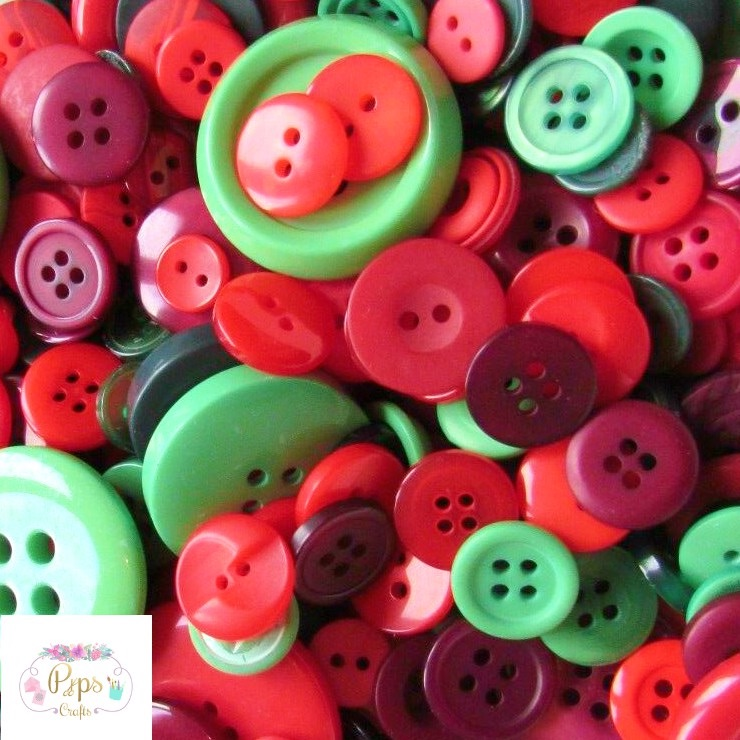 100 Assorted Mixed Christmas Colour Buttons