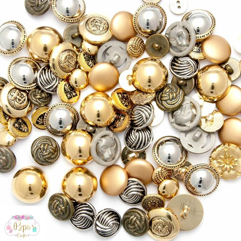 100 Assorted Gold & Silver Metallic Buttons