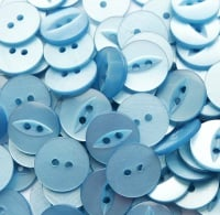 Round Fish Eye Buttons Size 18 - Baby Blue