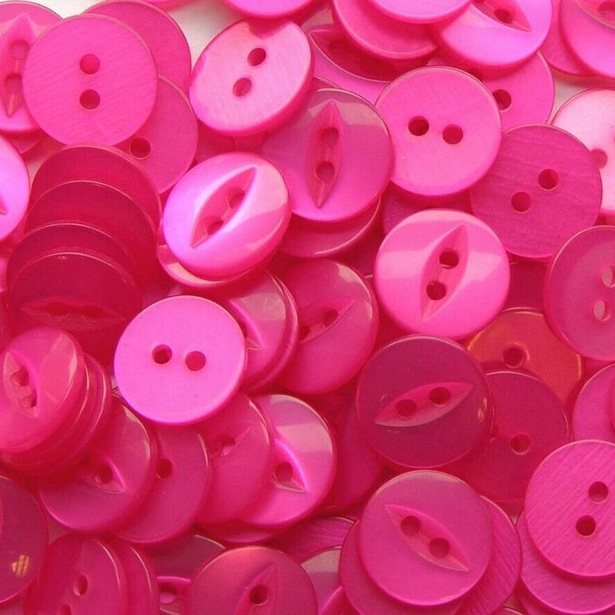 Round Fish Eye Buttons Size 18 - Cerise Pink