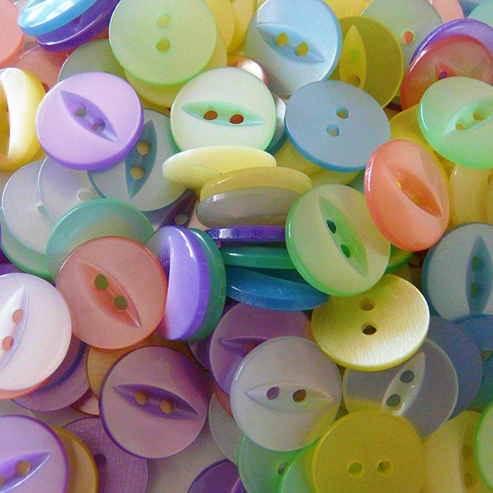 Round Fish Eye Buttons Size 18 - Assorted