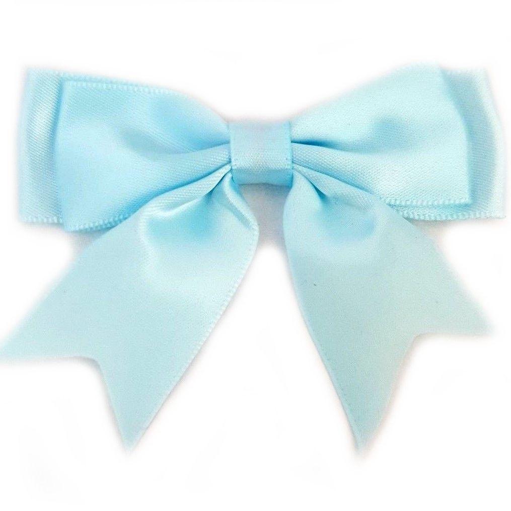Satin Fabric 25mm Ribbon Bows - Light Blue