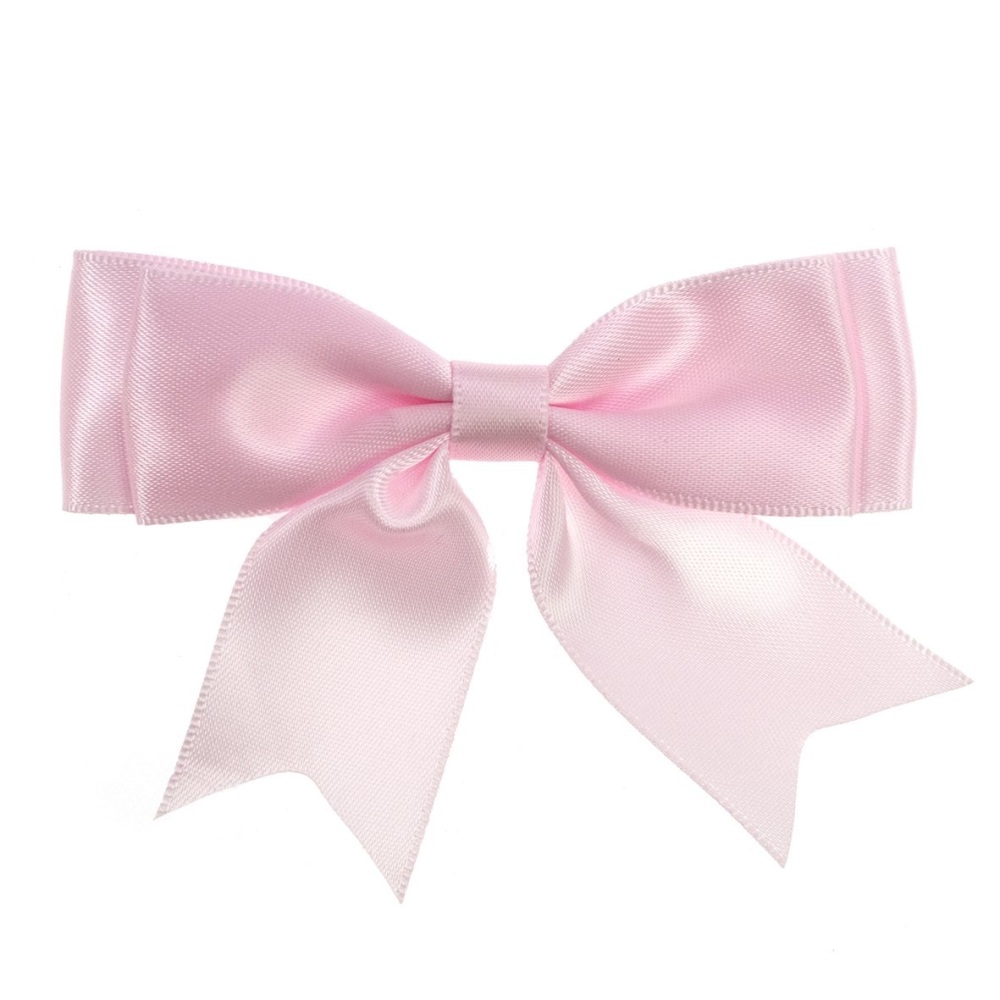 Satin Fabric 25mm Ribbon Bows - Light Pink