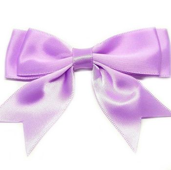 Satin Fabric 25mm Ribbon Bows - Lilac