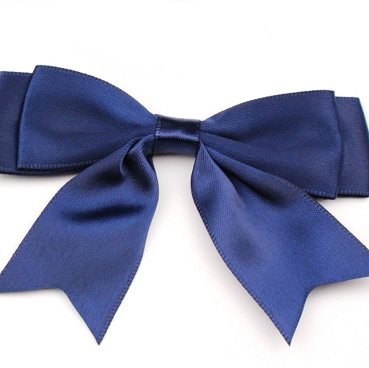 Satin Fabric 25mm Ribbon Bows - Navy Blue