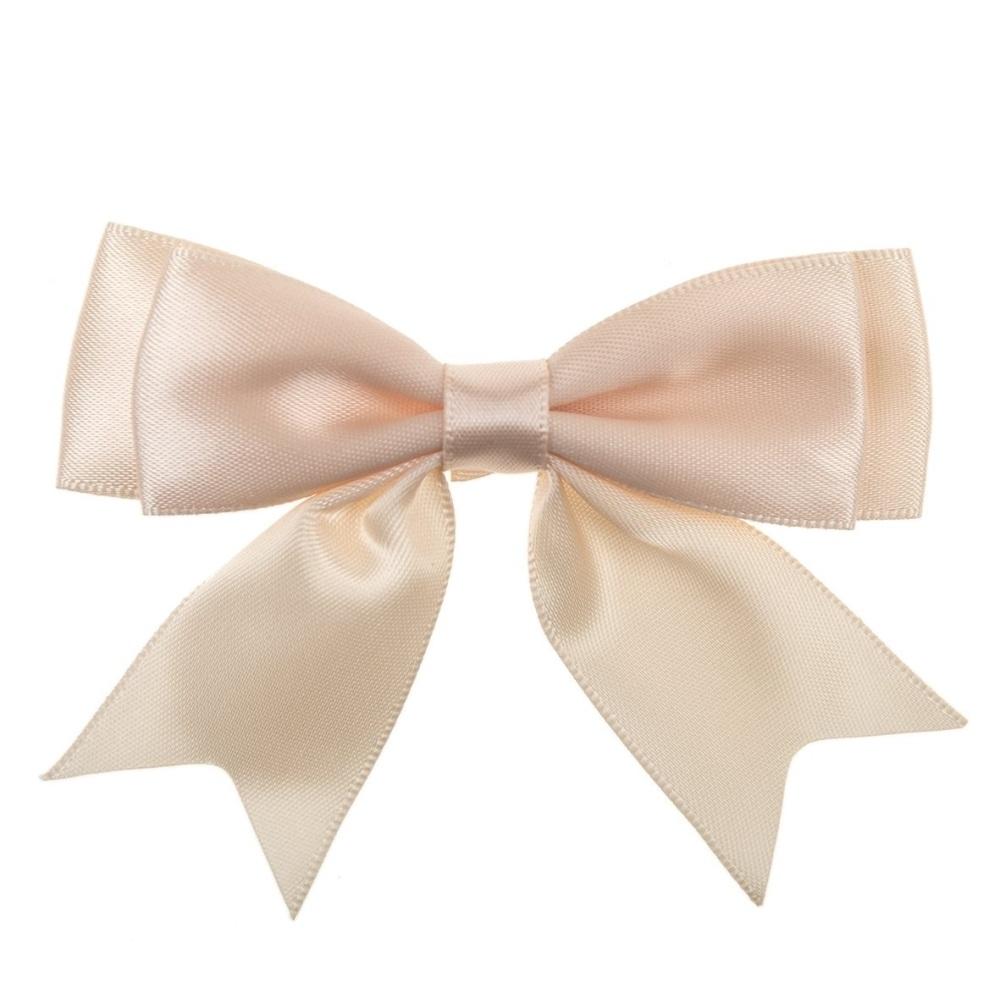 Satin Fabric 25mm Ribbon Bows - Peach