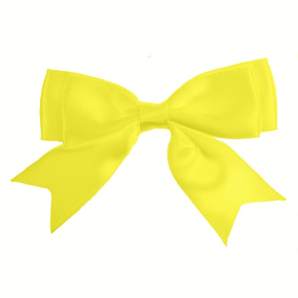 Satin Fabric 25mm Ribbon Bows - Lemon