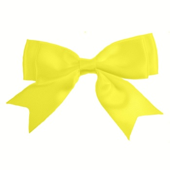 Satin Fabric 25mm Ribbon Bows - Lemon