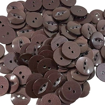 Round Fish Eye Buttons Size 22 - Brown