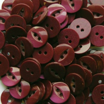 Round Fish Eye Buttons Size 22 - Burgundy