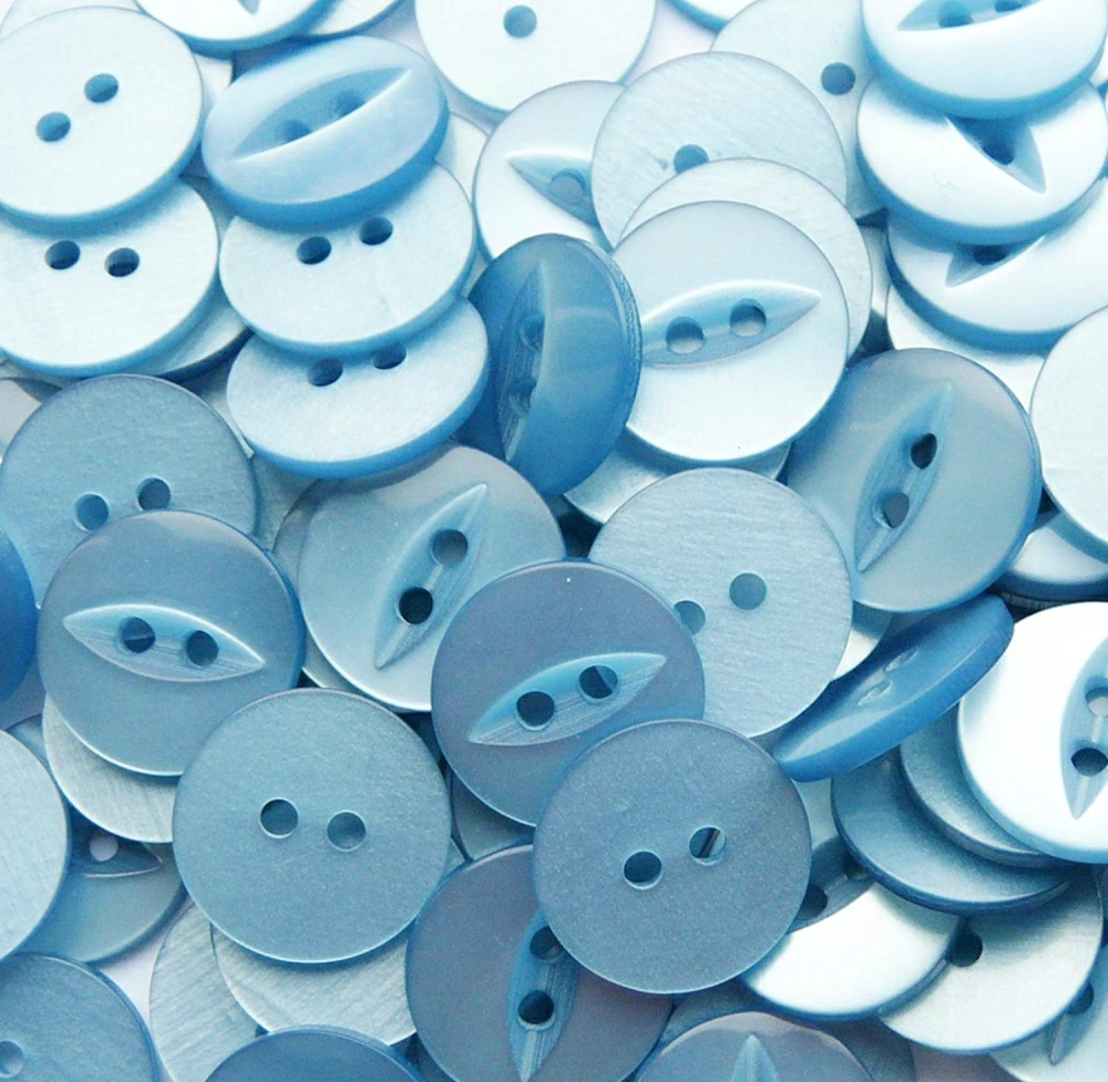 Round Fish Eye Buttons Size 26 - Light Blue