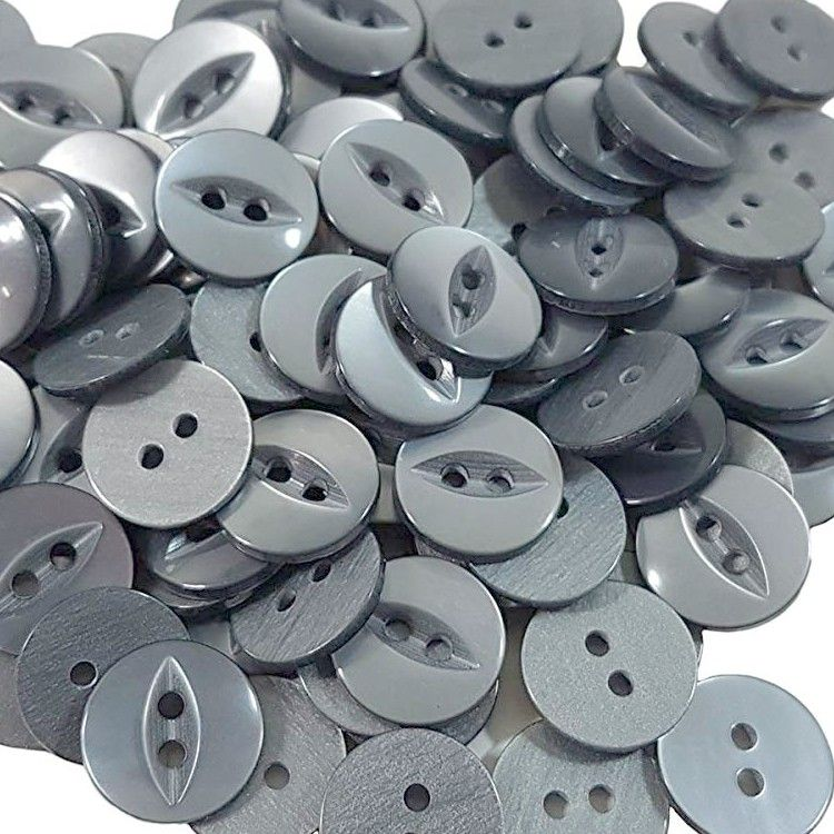 Round Fish Eye Buttons Size 26 - Grey