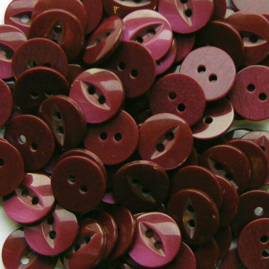 Round Fish Eye Buttons Size 26 - Burgundy