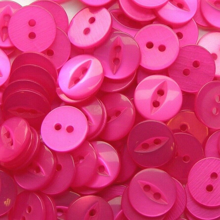 Round Fish Eye Buttons Size 30 - Cerise Pink
