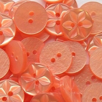 Round Star Buttons Size 18 - Peach