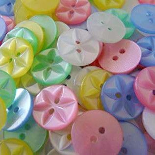 Round Star Buttons Size 22 - Assorted