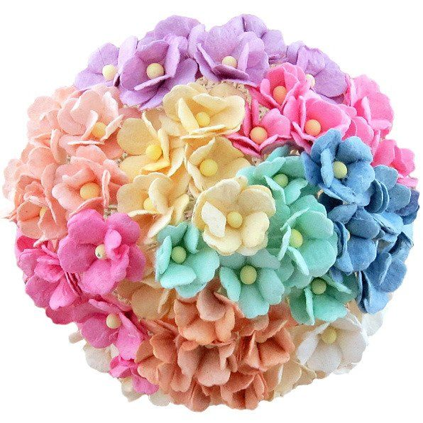 Mulberry Paper Sweetheart Blossom Flowers - Wire Stem 15mm Mixed Pastels