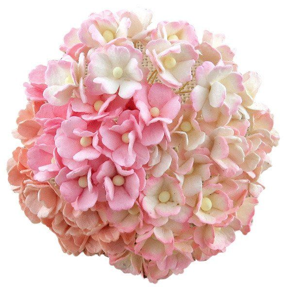 Mulberry Paper Sweetheart Blossom Flowers - Wire Stem 15mm Mixed Pinks.