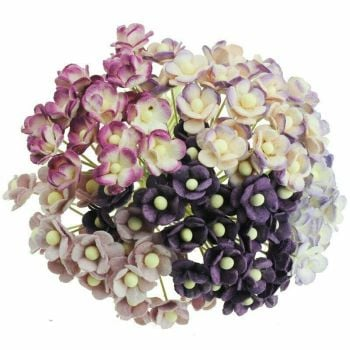 Mulberry Paper Sweetheart Blossom Flowers - Wire Stem 10mm Mixed Lilac/Purple.