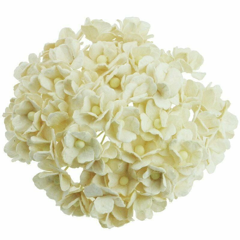 Mulberry Paper Sweetheart Blossom Flowers - Wire Stem 10mm Ivory.