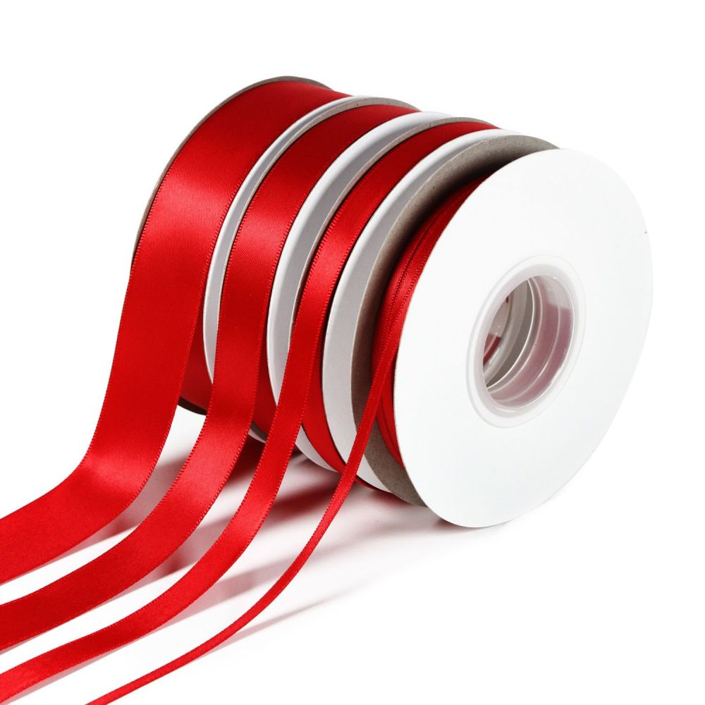 5 Metres Quality Double Satin Ribbon 6mm Wide - Red